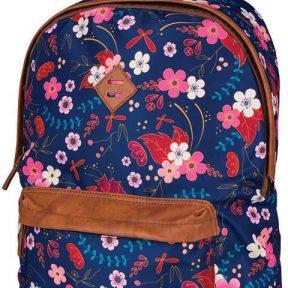 Τσάντα δημοτικού μπλε λουλούδια με 2 θήκες 41x32x14 εκ. Marshmallow 28755