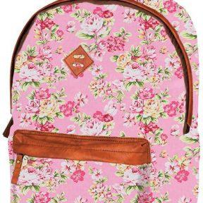Τσάντα δημοτικού ροζ λουλούδια με 2 θήκες 41x32x14 εκ. Marshmallow 28757