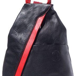 Γυναικειο Δερματινο Backpack Vanna Firenze Leather 2061 Μαύρο/Κόκκινο