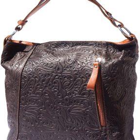 Δερμάτινη Τσαντα Ωμου Lisa Firenze Leather 3016s Σκουρο Καφε/Μπεζ