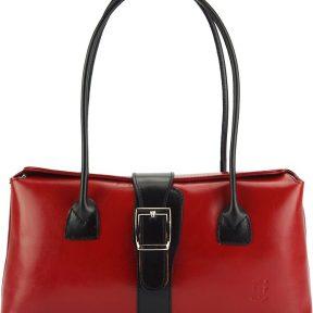 Δερμάτινη Τσάντα Χειρός Erminia Firenze Leather 217 Κόκκινο/Μαύρο