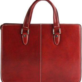 Γυναικειος Χαρτοφύλακας Δερμάτινος Rolando Firenze Leather 7629 Κόκκινο