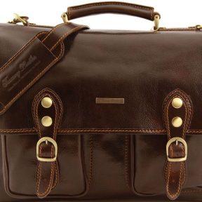 Επαγγελματική Τσάντα Δερμάτινη Modena S Καφέ σκούρο Tuscany Leather