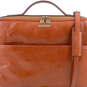 Τσάντα Laptop Δερμάτινη Vicenza Μελί Tuscany Leather