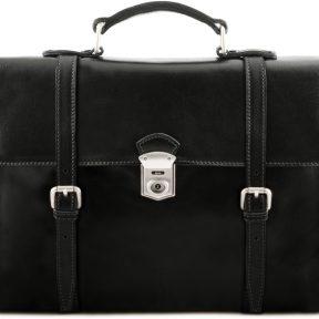 Ανδρική Επαγγελματική Τσάντα Δερμάτινη Viareggio Μαύρο Tuscany Leather