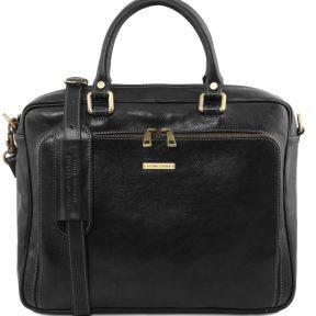 Τσάντα Laptop Δερμάτινη Pisa Μαύρο Tuscany Leather