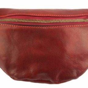 Δερμάτινο Τσαντάκι Μέσης Christian Firenze Leather 6575 Σκούρο Κόκκινο
