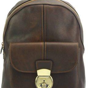 Δερμάτινο Backpack Discovery Firenze Leather 7400 Σκούρο Καφέ