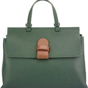 Δερμάτινη Τσάντα Χειρός Donatella GM Firenze Leather 8061 Σκούρο Πράσινο/Καφέ